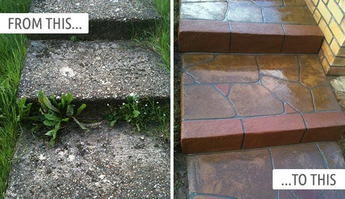 Stencil Driveway Pattern Concrete Refurbishments